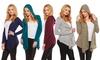 Women's Long Sleeve Hooded Cardigan: Women's Long Sleeve Hooded Cardigan