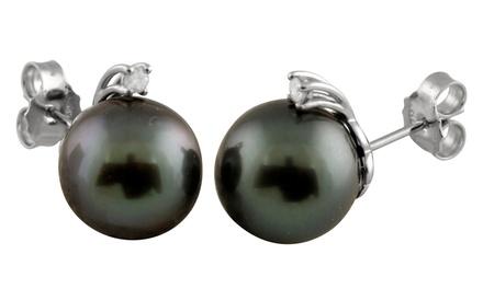 Genuine Tahitian Pearl and Round Diamond Stud Earrings