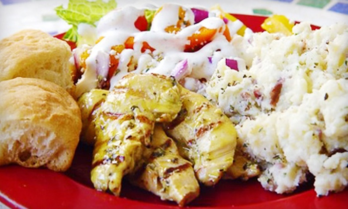 Kairos Kafe - South Titusville: Greek-Inspired Southern Cuisine for Catering or Lunch at Kairos Kafe. Four Options Available.