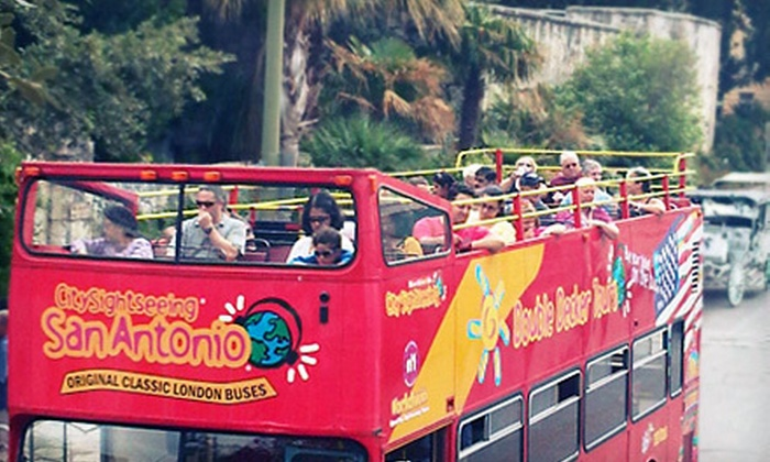 City Sightseeing San Antonio - San Antonio Visitors Center: Double-Decker-Bus Tour for Two, Four, or Family of Five from City Sightseeing San Antonio (Up to 56% Off)