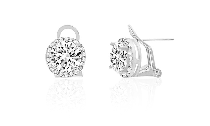 Omega French Clip Halo Stud Earrings Made With Swarovski Elements