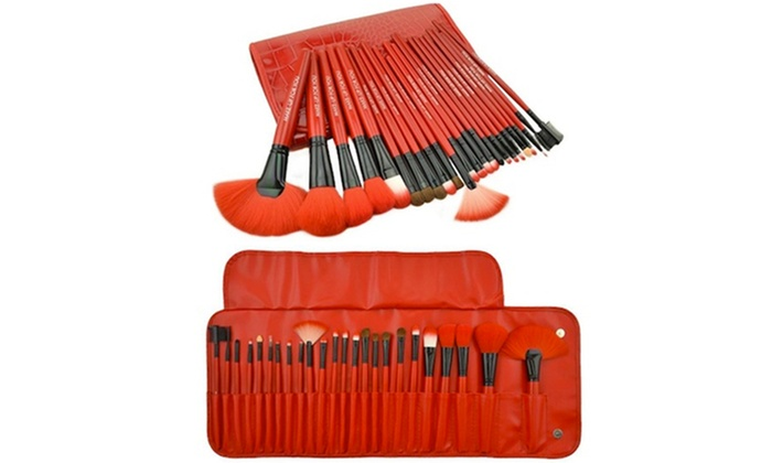 Royal Red Make Up Brush Set (24-Piece)