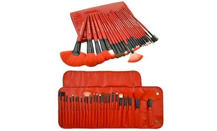 Royal Red Makeup-Brush Set with Case