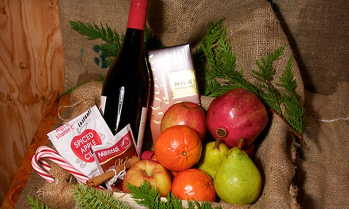 Pacific Coast Harvest - Maple Leaf: $33 for a Holiday Gift Box Including Wine, Chocolate, Organic Fruit, and Other Seasonal Items from Alpine Tree & Wreath ($66 Value)