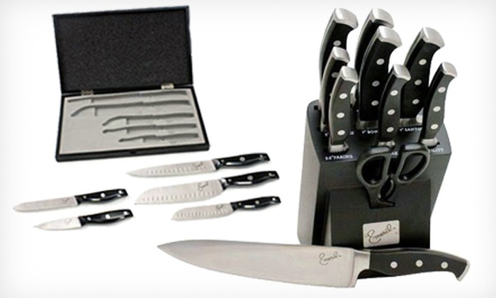 Emeril Cutlery Knife Set: Emeril Cutlery 5-Piece Knife Set in Wooden Box or 11-Piece Forged Knife Set in Storage Block (Up to 52% Off)
