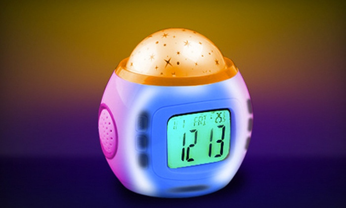 Starry Nite Time by Tazl: One or Two Coloured-Light-Projecting Alarm Clocks from Starry Nite Time by Tazl (Up to 58% Off)