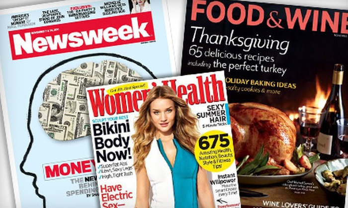 """""""Newsweek,"""" """"Golfweek,"""" """"Food & Wine"""" and More: Subscription to """"Newsweek,"""" """"Golfweek,"""" and More (Up to 74%). Seven Options Available."""
