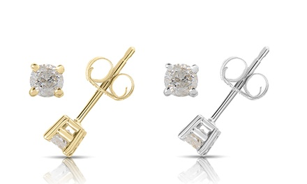 1/4 CTTW Round Diamond Stud Earrings in 10K White or Yellow Gold