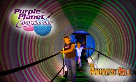 The Haunted Mill and Purple Planet 3-D Mini Golf: 1 All-Day Admission Pass - The Haunted Mill and Purple Planet 3-D Mini Golf in Belmont