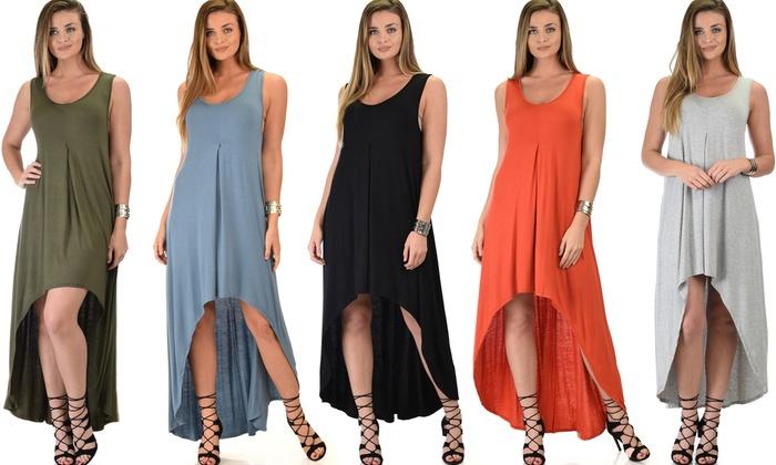 Lyss Loo Rock and Ready Sleeveless High-Low Maxi Dress