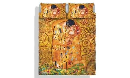Parure letto matrimoniale con stampa digitale, Made in Italy, disponibile in varie fantasie