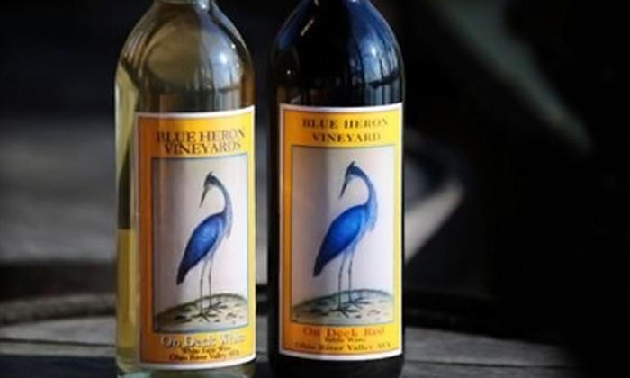 Blue Heron Vineyards - Cannelton: $60 for One-Night Stay, Wine Tasting, and Wineglasses for Two at Blue Heron Vineyards ($135 Value)