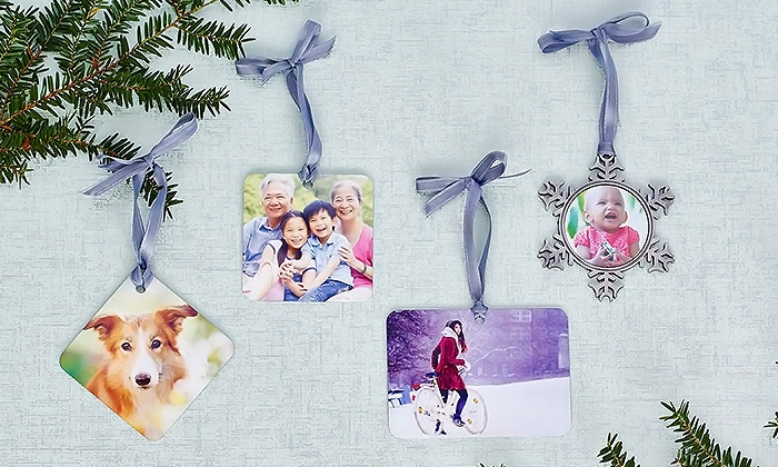 Collage.com: One, Two, or Three Personalized Metal Ornaments from Collage.com (Up to 83% Off). Five Options Available.