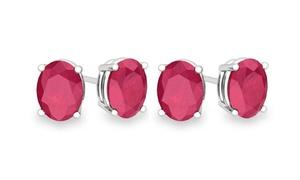 2.00 Ctw Ruby Stud Stud Earrings (1 Or 2 Pairs)
