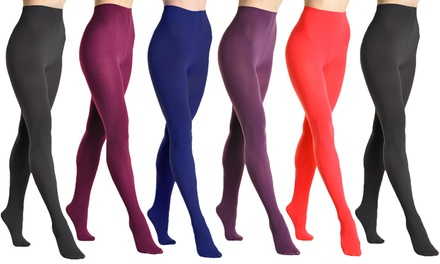 6-Pack Angelina Women's Brushed Interior Thermal Tights