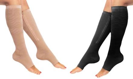 Knee-High Zippered Open-Toe Compression Socks