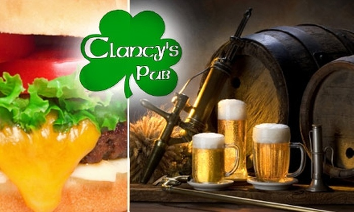 Clancy's Pub - Multiple Locations: $5 for $10 Worth of Casual Fare and Drink at Clancy's Pub
