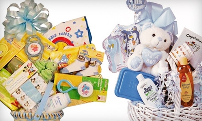 Sandler's Gift Baskets - North New Hyde Park: Precious Little Handprints Basket or Large Original Pamper Baby Basket from Sandler's Gift Baskets