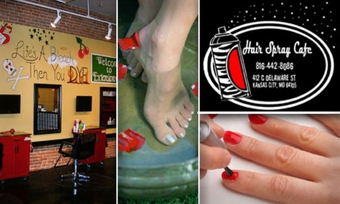 Hair Spray Cafe - River Market: $25 for a Manicure and Pediluxe Pedicure at Hair Spray Cafe