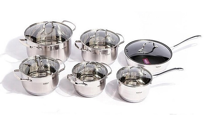 Bright Line Trading L.L.C: One or Two Stainless Steel Pot 12-Piece Sets from AED 219 (Up to 78% Off)