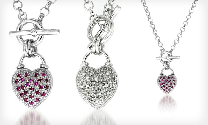 Reversible Heart-Pendant Necklace: $59 for a Sterling-Silver Reversible Heart-Pendant Necklace with Diamonds and Rubies ($250 List Price). Free Returns.