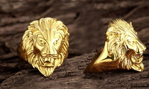 Men's 18K Stainless Steel Gold-Plated Lion Ring by Rubique Jewelry