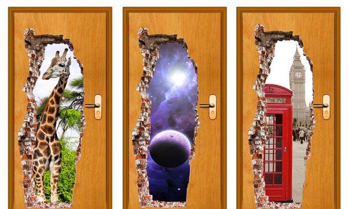 Adesivo 3d per porte groupon goods - Decorare le porte ...