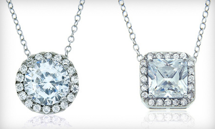 Mon Ami Jewelry - The Loop: $19 for a Round or Princess-Cut Cubic-Zirconia Pendant Necklace at Mon Ami Jewelry ($40 Value)