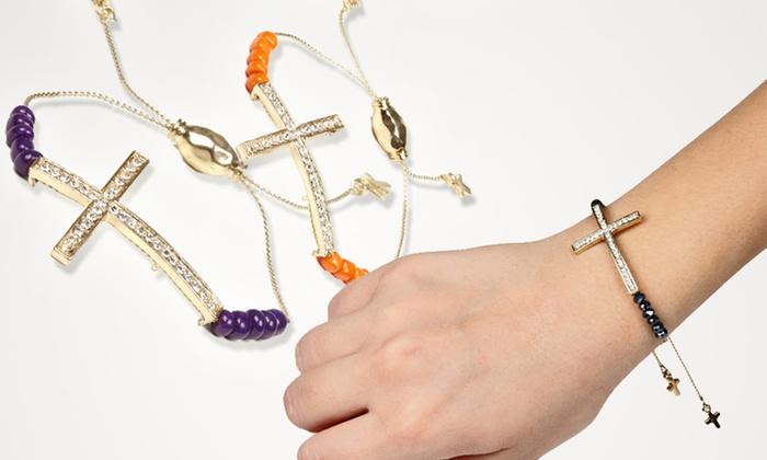 Jadore Bijoux Cross Gem Bracelets: $11 for a Jadore Bijoux Cross Gem Pull-String Bracelet ($50 List Price). 18 Styles Available. Free Returns.