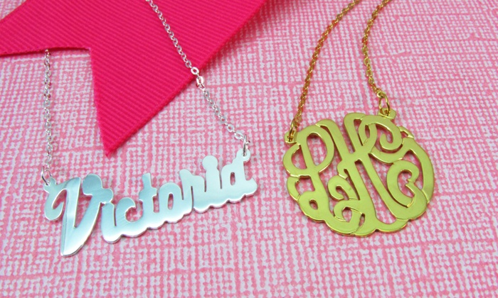Namejewelryspot.com: Gold-Plated or Sterling-Silver Custom Necklaces from NameJewelrySpot (Up to 73% Off). Two Options Available.