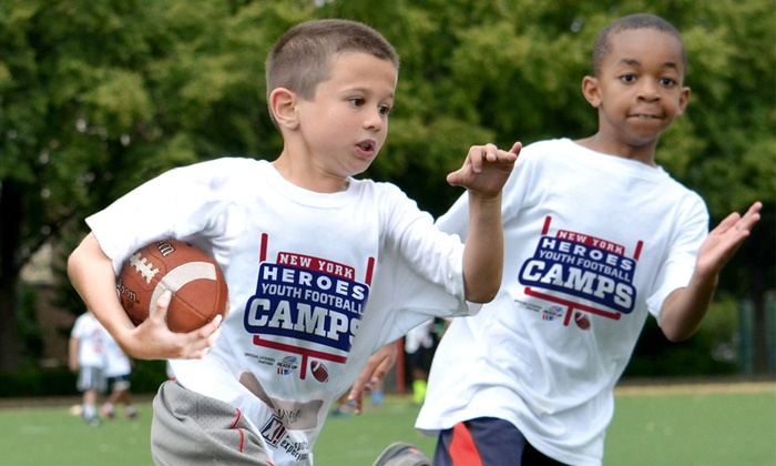 Youth Football Camps of New York Heroes - Multiple Locations: New York Heroes Non-Contact Instructional Youth Football Camps, Full or Half Day Option, Ages 6-14. 31 Options.