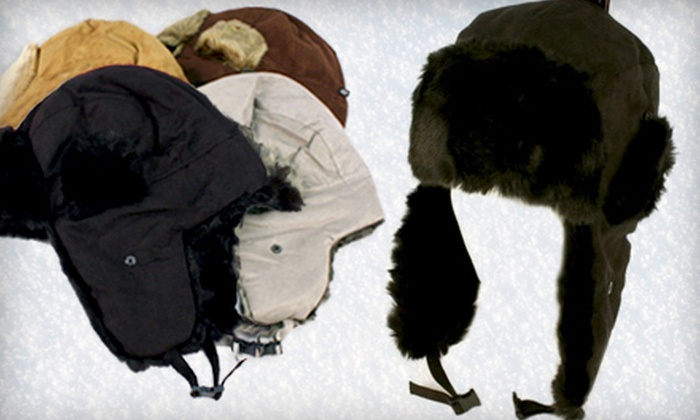 Soft Faux Fur Winter Hat: Trooper Trapper Soft Winter Hat with Fake Fur and Faux Suede in Gray, Black, Brown or Chestnut. Shipping Included.