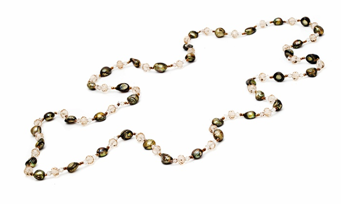 "36"" Genuine Freshwater Pearl with Crystals Endless Necklace: 36"" Genuine Freshwater Pearl with Crystals Endless Necklace. Multiple Colors Available."
