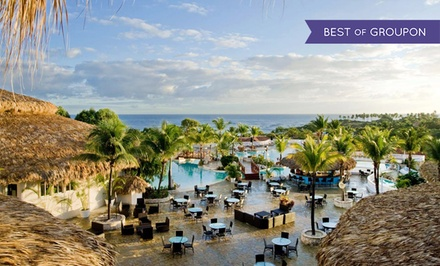 groupon daily deal - All-Inclusive VIP Stay at Cofresi Palm Beach & Spa Resort in Dominican Republic. Incl. Taxes & Fees. Dates into October