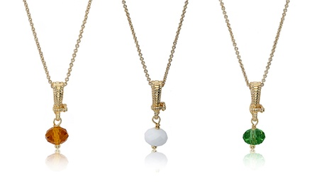14K Gold-Plated Glass Birthstone Necklace