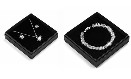 Brincos, brincos e colar, pulseira ou conjunto Princess com Swarovski Elements desde 5,99€