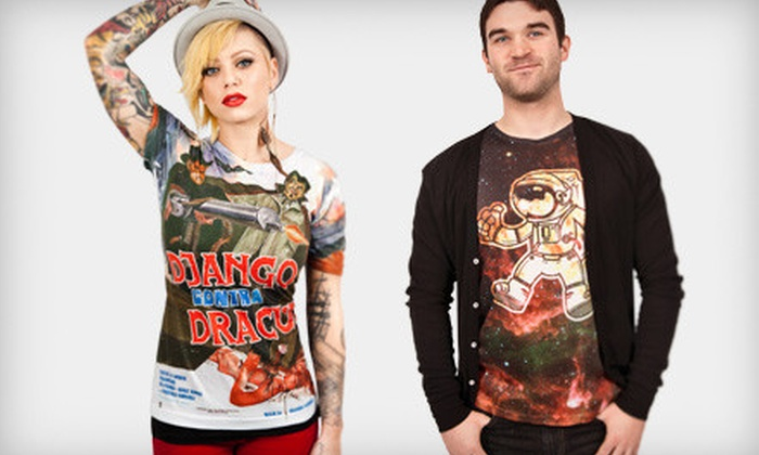 Jakprints: 1, 5, or 10 All-Over, Full Color Printed T-shirts With Custom Print on the Front or Back from Jakprints (Up to 48% Off)