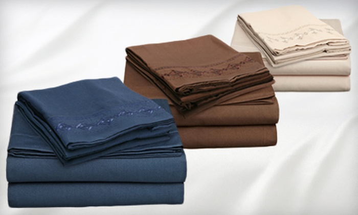Embroidered Microfiber Sheet Set: $29 for a Clara Clark Embroidered Microfiber Sheet Set ($69.99 Value). Multiple Colors and Sizes Available.