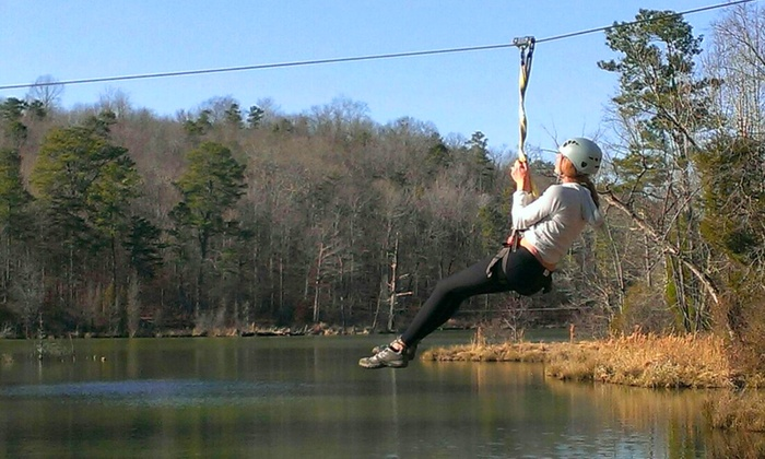 Daredevil Ziplines - Cave Spring: 90-Minute Zipline Tour for One or Dare Ya! Ride for Two at Daredevil Ziplines (Up to 51% Off)