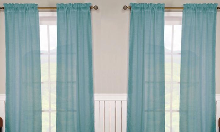 Monata Window Panels: One Pair of Monata Window Panels with Rod Pocket in Spa Blue