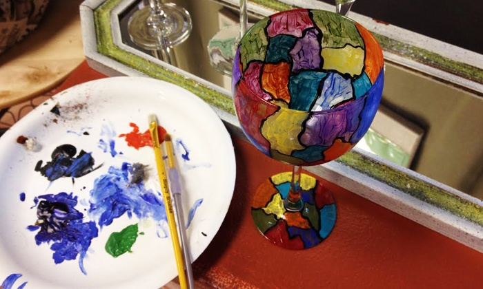 SunDust Gallery - Gilbert: BYOB Wine Glass Painting Class for One, Two, or Four at SunDust Gallery (Up to 54% Off)