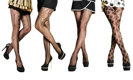 Angelina 4-Pack of Patterned Fishnet Pantyhose