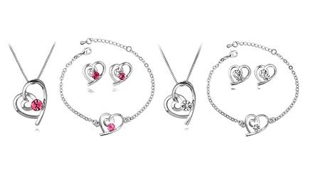 Conjunto de 3 peças Triple Spiral Heart com Swarovski Elements por 8,99€