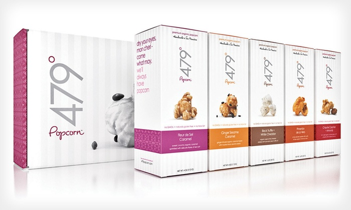 Organic 479° Popcorn Box Sets: $19 for The Best Seller, Sweet Tooth, or Purist Box Set of 479° Popcorn Organic (Up to $38 List Price). Free Shipping.