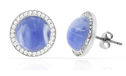 Swarovski Elements Blue Chalcedony Halo Stud Earrings in 18K White Gold Plated Brass