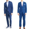 Fellini Classic or Slim Fit Summer Cool Blue 2-Piece Suits