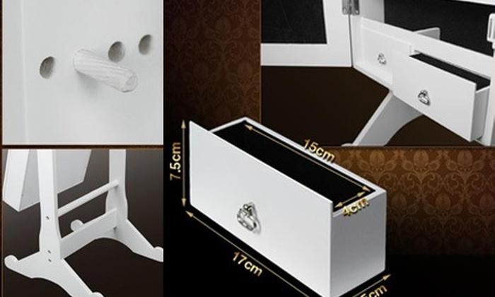 Meuble miroir coffre avec rangements bijoux et accessoires for Miroir coffre a bijoux