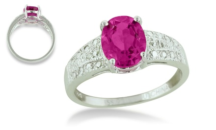 2.25-Carat Oval-Shaped Gemstone and 0.01-CTTW Diamond Ring in Sterling Silver
