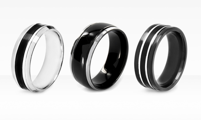 Stainless Steel Black-Plated Men's Rings: Stainless Steel Black-Plated Men's Rings (67% Off). Multiple Styles Available. Free Shipping and Returns.