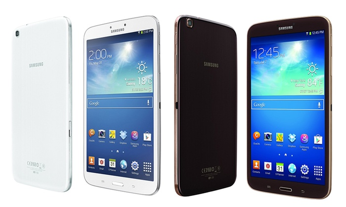 """Samsung 8"""" Galaxy Tab 3 16GB: Samsung 8"""" Galaxy Tab 3 with 16GB Memory in White or Gold/Brown (SM-T3100) (Manufacturer Refurbished). Free Returns."""